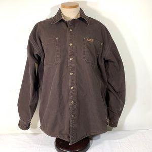 Mens Carhartt Lined Duck Work Shirt Jacket L Tall